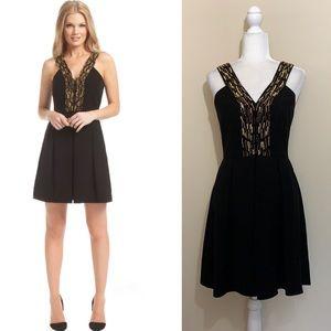 Shoshanna Black Crepe Gold Beaded 'Penny' Dress